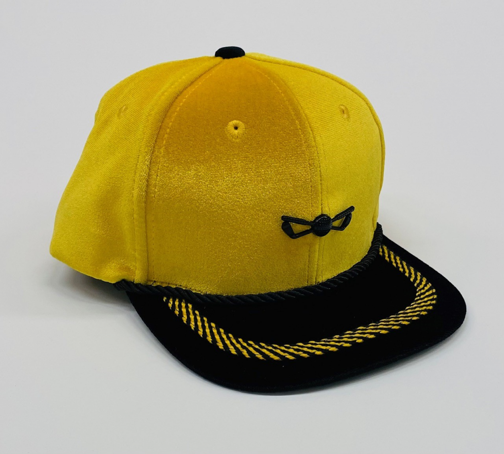 Yellow and Black Velour Adjustable Golf Hat front