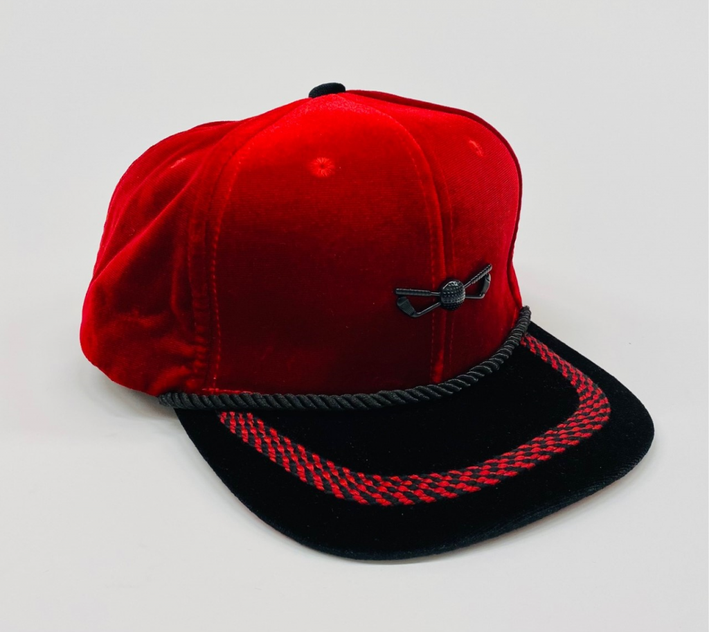 Red and Black Velour Adjustable Golf Hat front