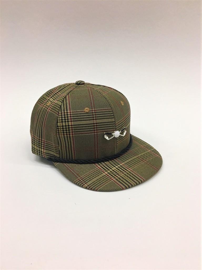 Beige Plaid Adjustable Golf Cap