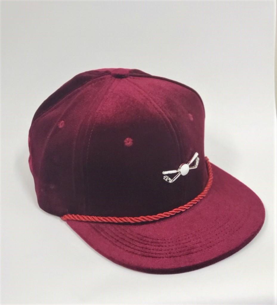 Burgundy Velour Adjustable Golf Hat
