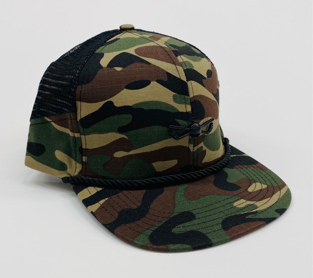 Green Camouflage Mesh Side Panel Adjustable Golf Hat front