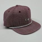 Burgundy and White Plaid Adjustable Golf Hat