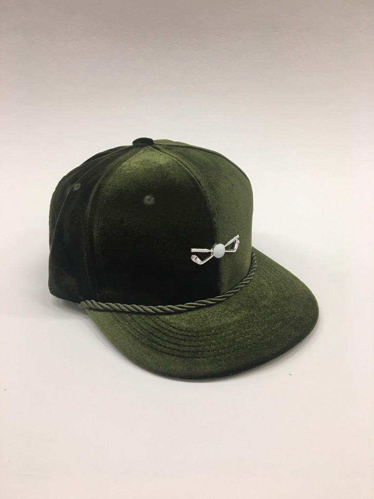 money green adjustable golf cap with metal pin