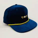navy blue and yellow velour front