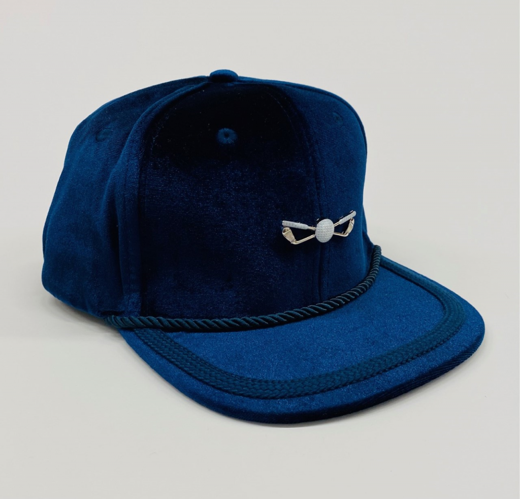 Navy Blue with Navy Blue Flat Rope Velour Adjustable Golf Hat front