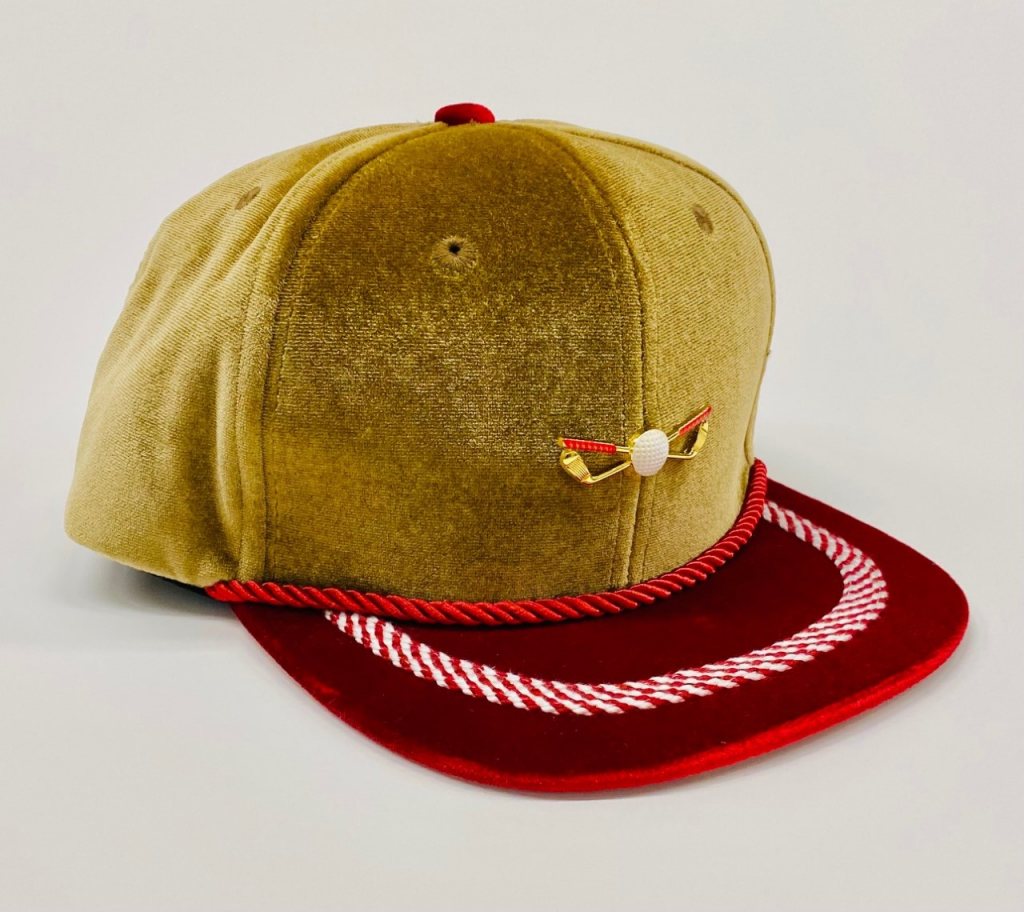 Gold Red and White Vleour Golf Hat front