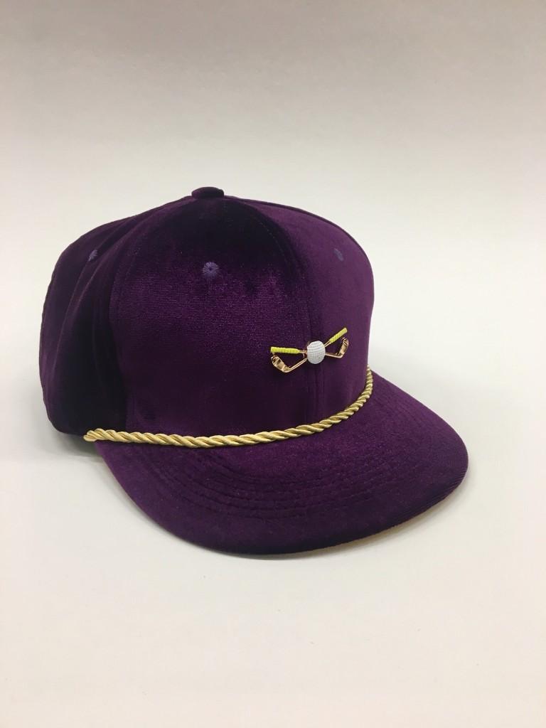 Purple and Gold Velour Adjustable Golf Cap