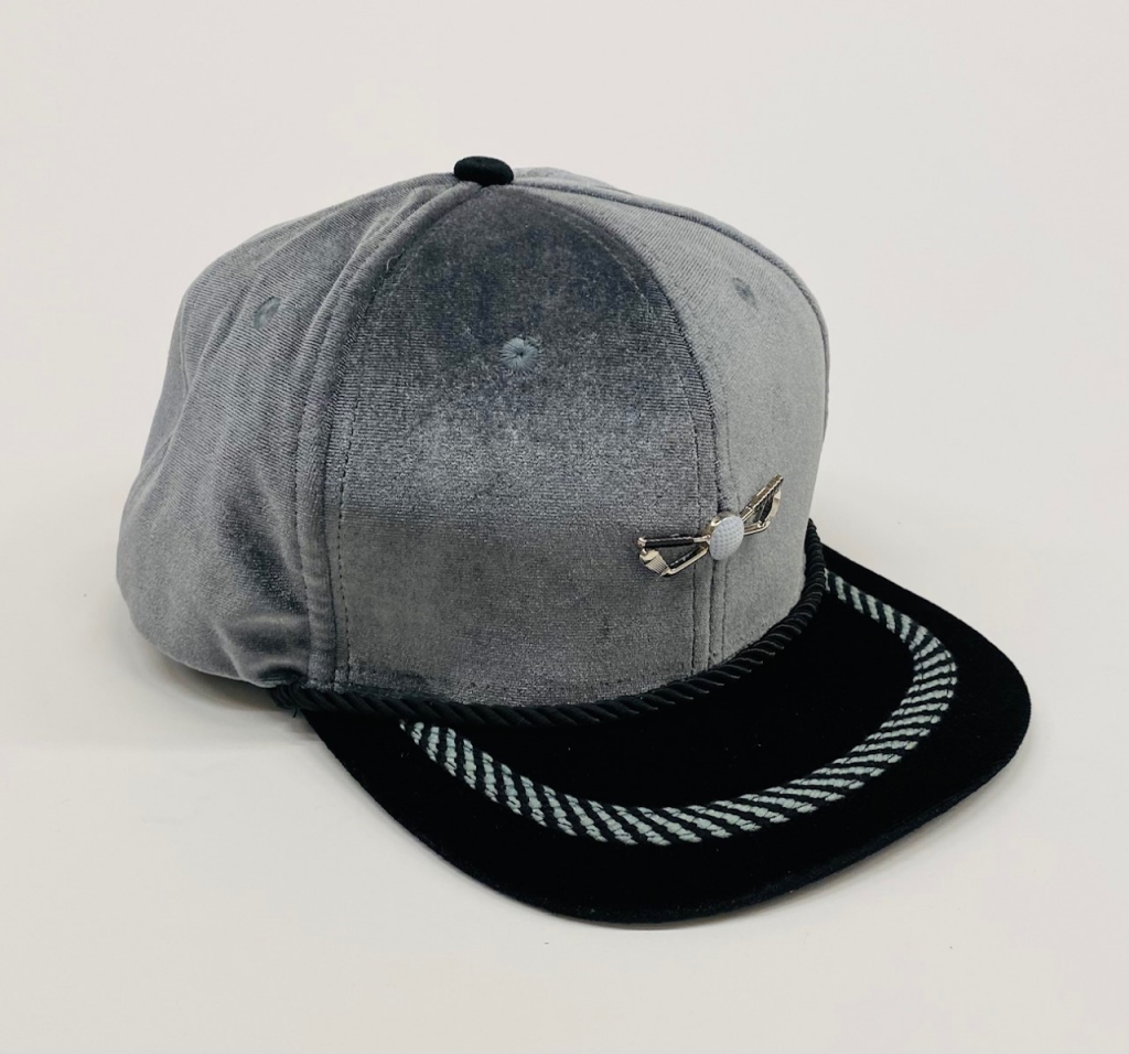 Silver and Black Velour Golf Hat front