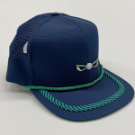 navy blue and fluorescent green mesh side panel front