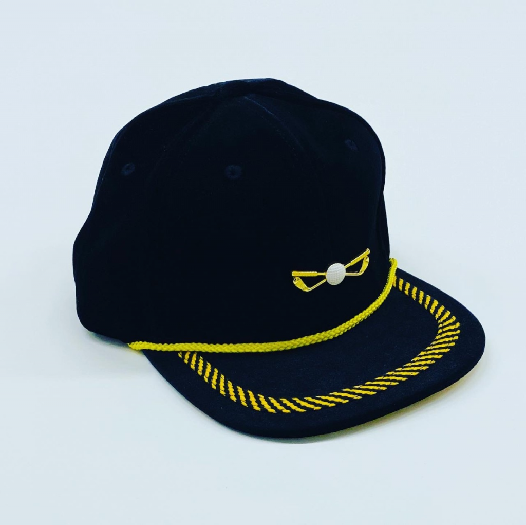 Black and Yellow Velour Adjustable Golf Hat Front