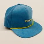 Sky Blue and Gold Corduroy Adjustable Golf Hat